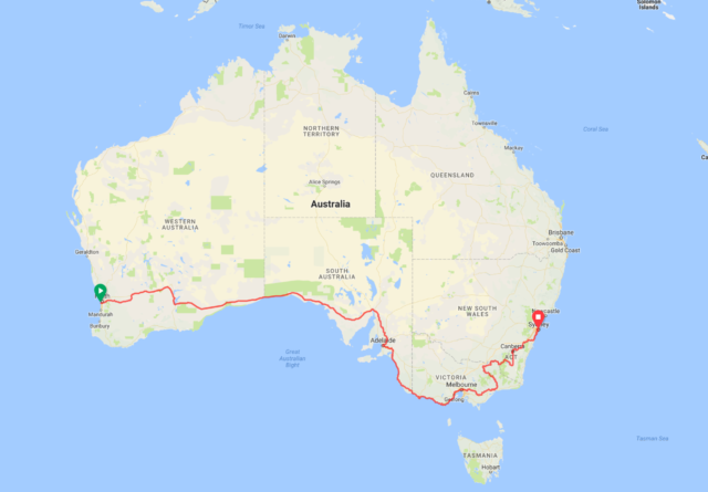 The route of the Indian Pacific Wheel Race (Screenshot)