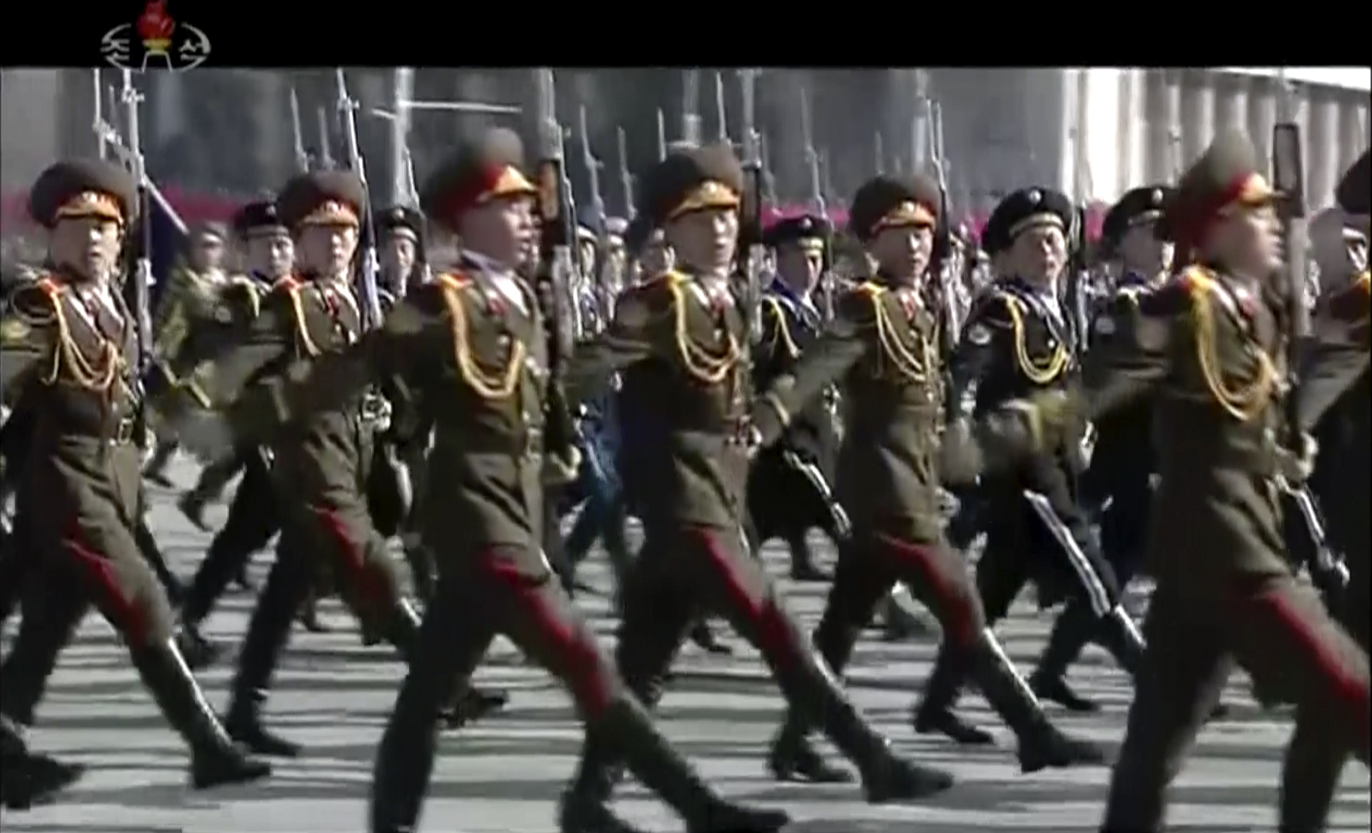 North Korean soldiers march during the parade in Pyongyang (KRT via AP)