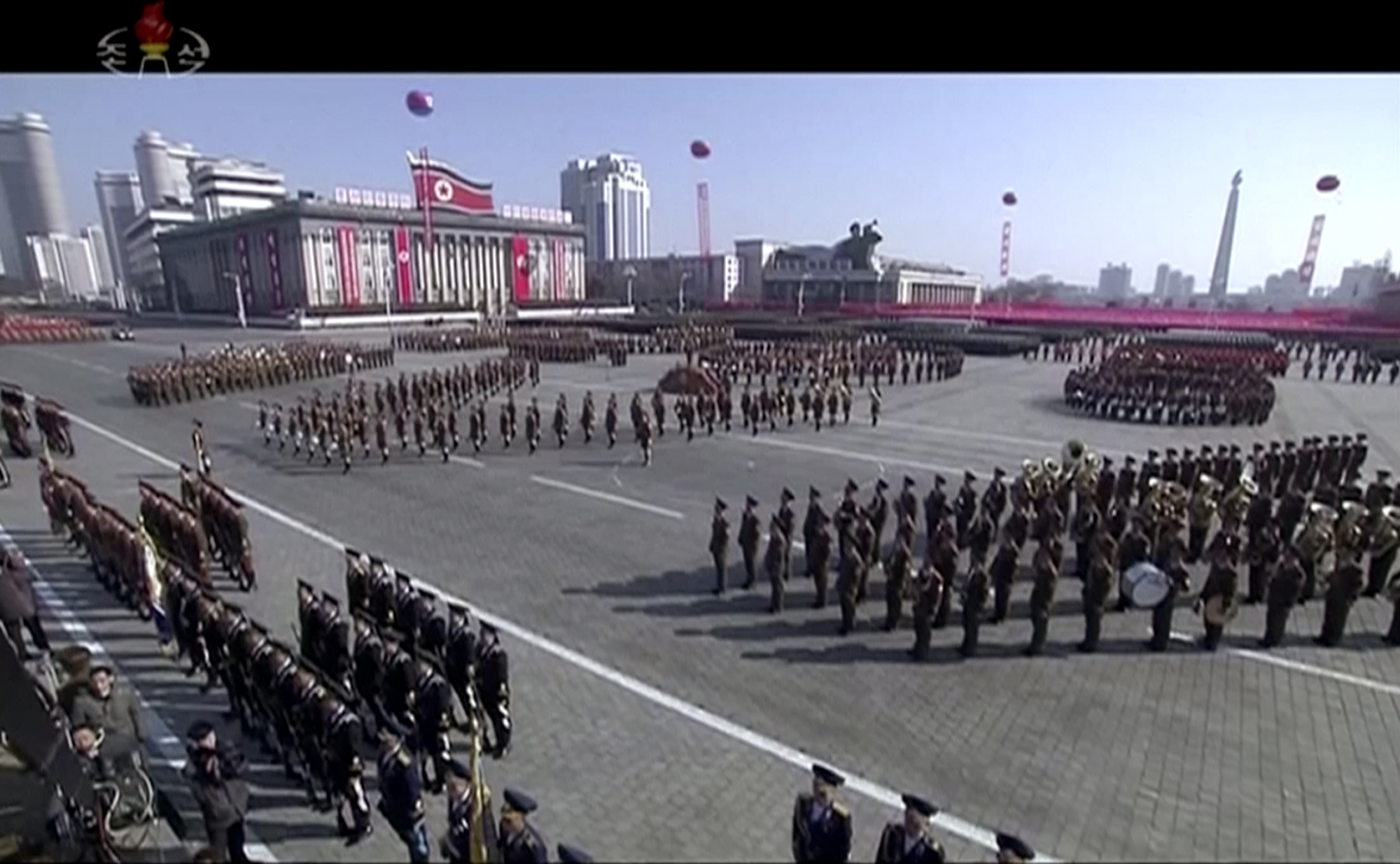 The parade was held in Kim Il Sung Square (KRT via AP)