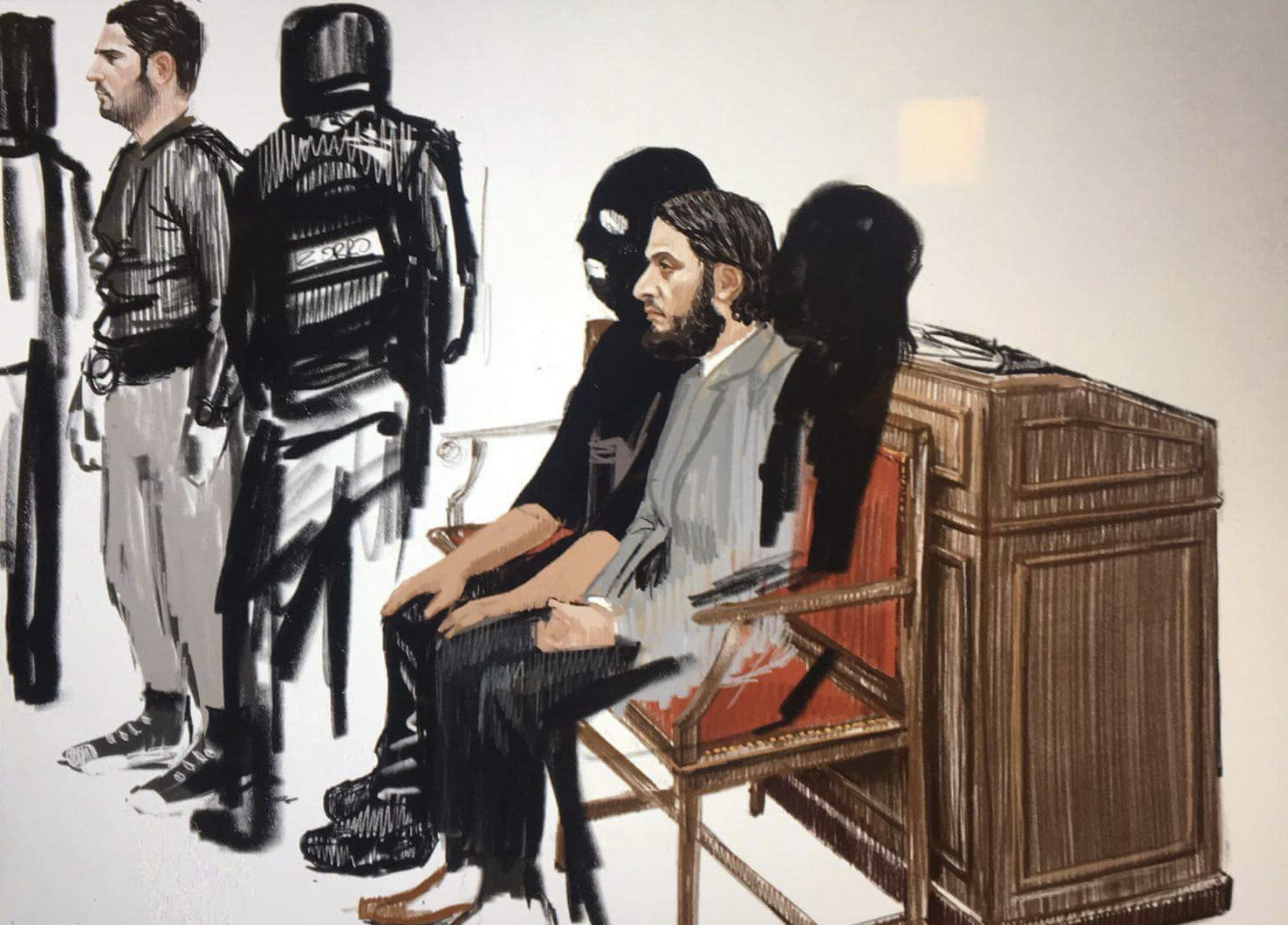 In this courtroom sketch, Salah Abdeslam, right, and Soufiane Ayari, left, at the Brussels Justice Palace on Monday (Petra Urban via AP)