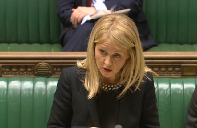 Work and Pensions Secretary Esther McVey replies to an urgent question on Motability (PA)
