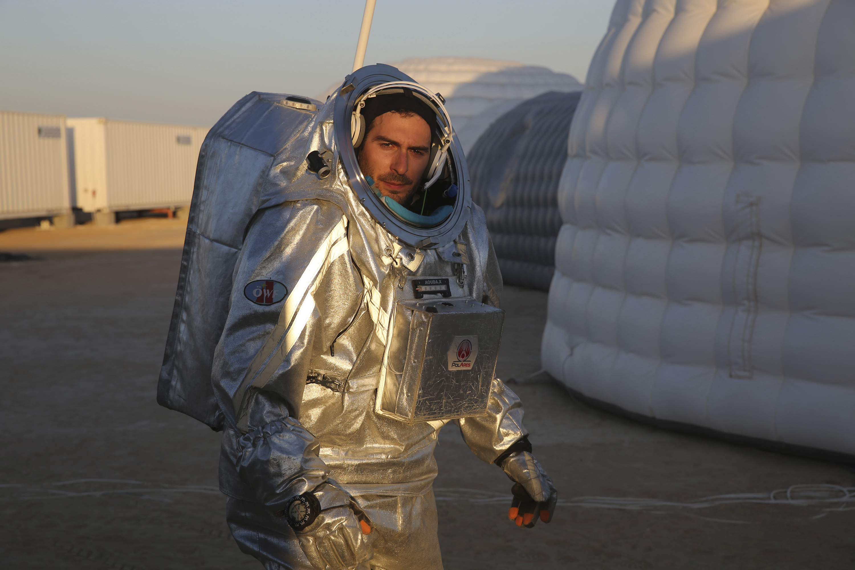 Joao Lousada, a flight controller for the International Space Station, wearing an experimental space suit during a simulation of a future Mars mission in the Dhofar desert of southern Oman (Sam McNeil/AP)