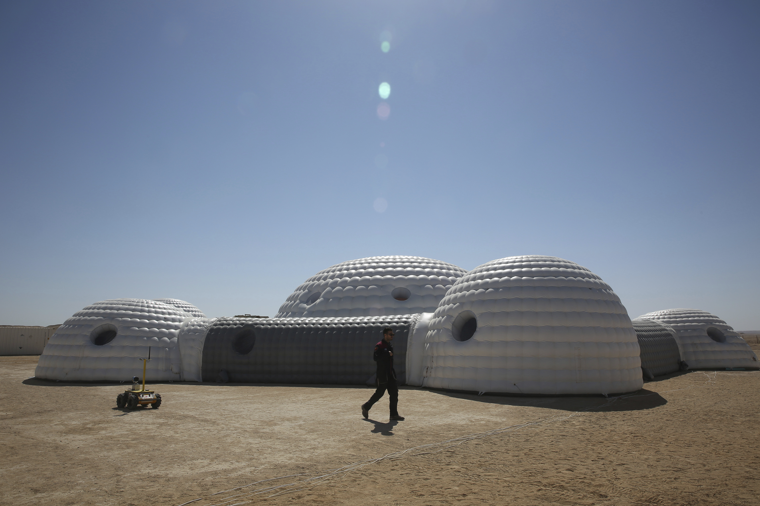 A 2.4-ton inflated habitat used by the AMADEE-18 Mars simulation in the Dhofar desert of southern Oman (Sam McNeil/AP)