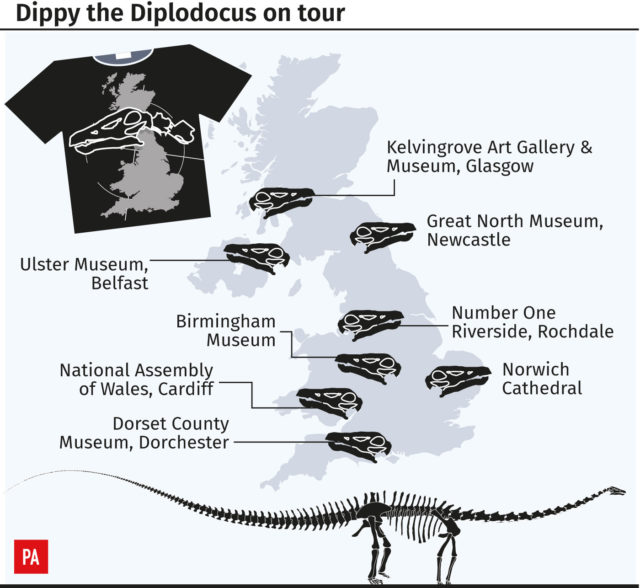 Dippy the Diplodocus on tour (PA Graphics)