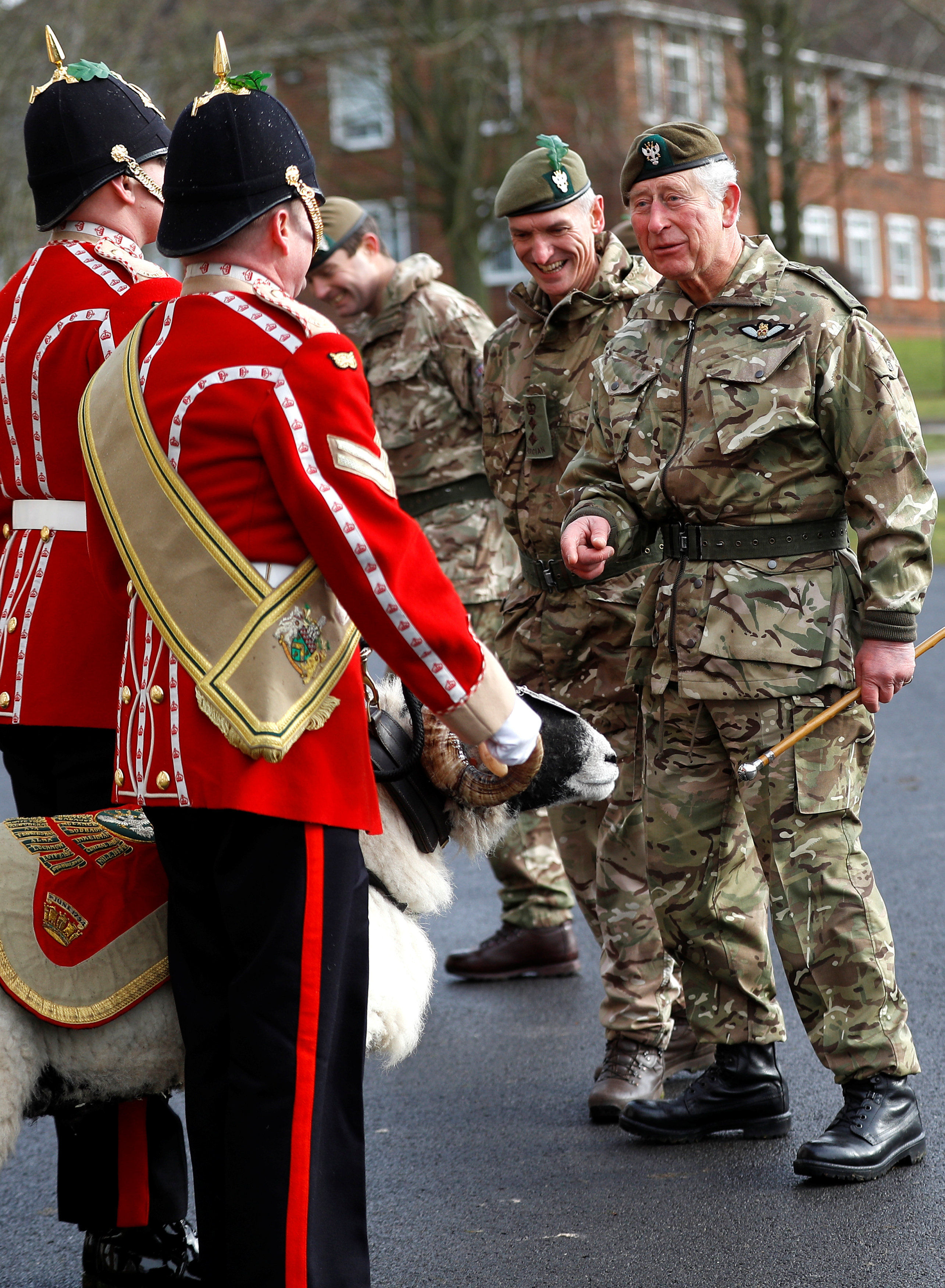 The Prince of Wales meets Private Derby XXII, a Swaledale Ram and the Regimental Mascot during his visit to the 1st Battalion the Mercian Regiment