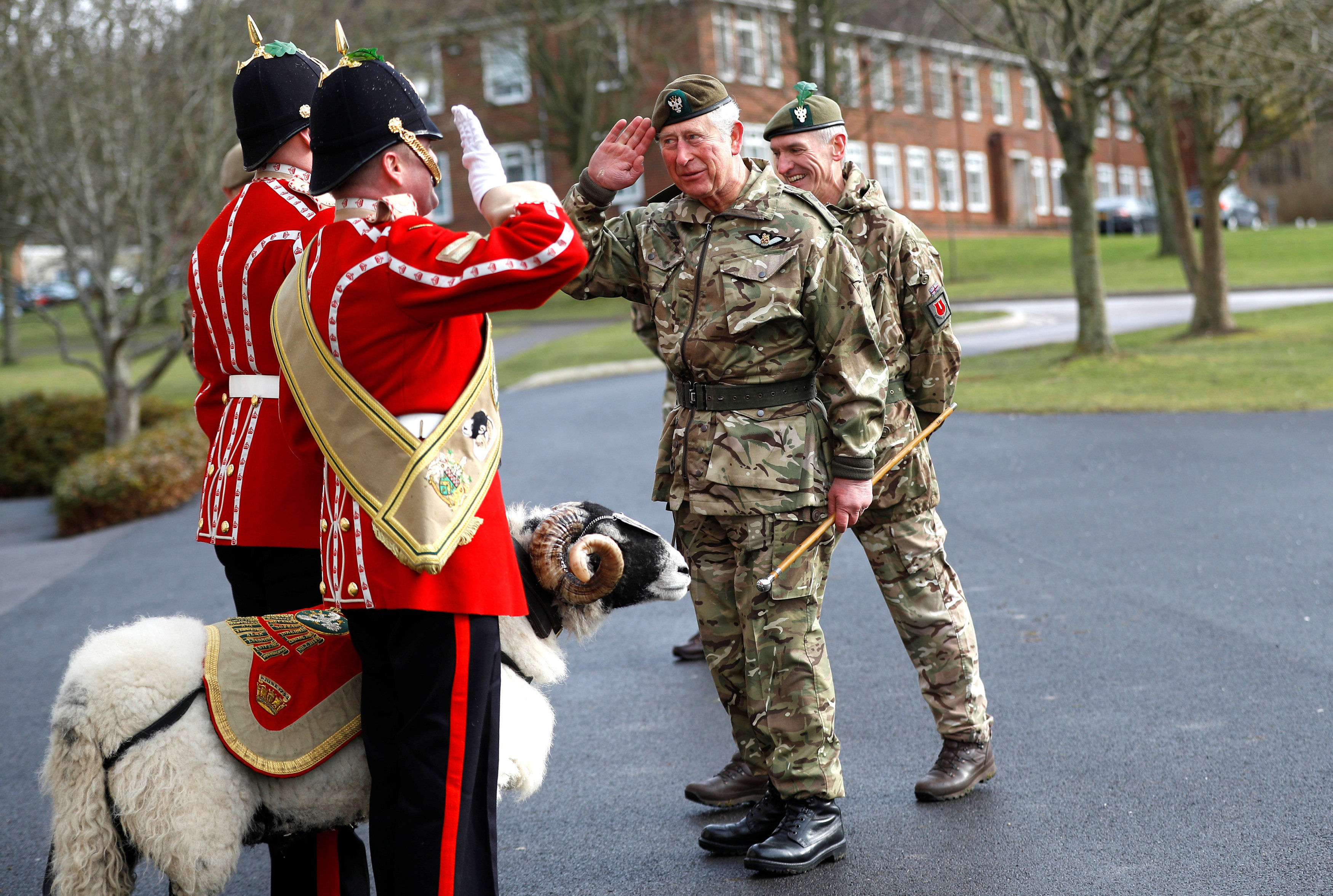 The Prince of Wales inspects troops and meets Private Derby XXII, a Swaledale Ram and the Regimental Mascot during his visit to the 1st Battalion the Mercian Regiment