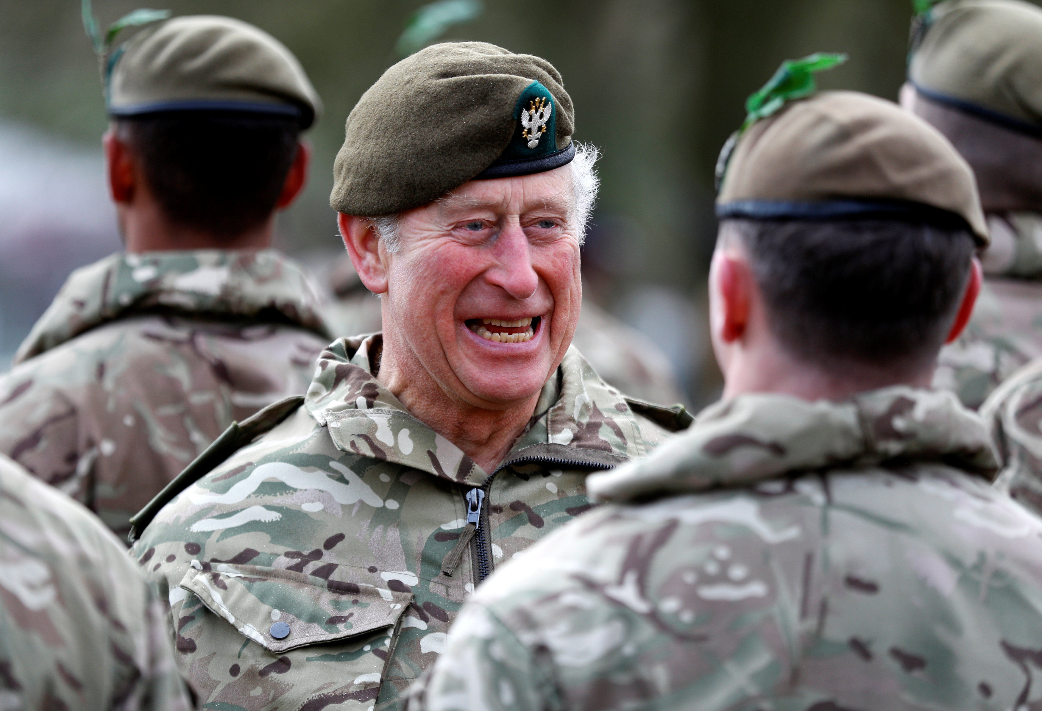 The Prince of Wales inspects troops during his visit to the 1st Battalion the Mercian Regiment