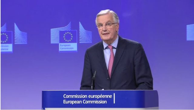 Michel Barnier speaks to the media in Brussels (European Commission Audiovisual Service)
