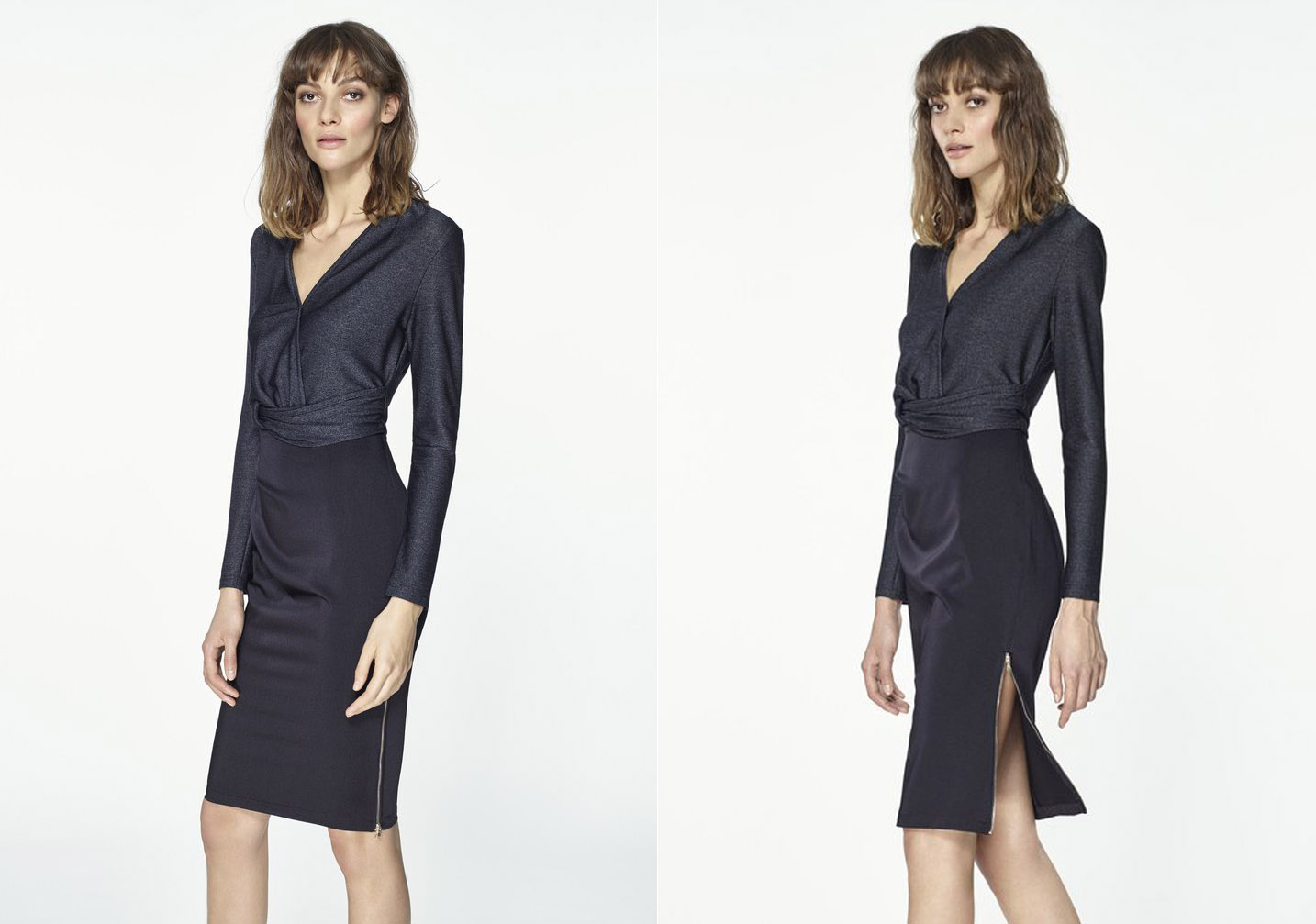 Paisie Wrap Dress with Waist Detail and Leg Zip in Black