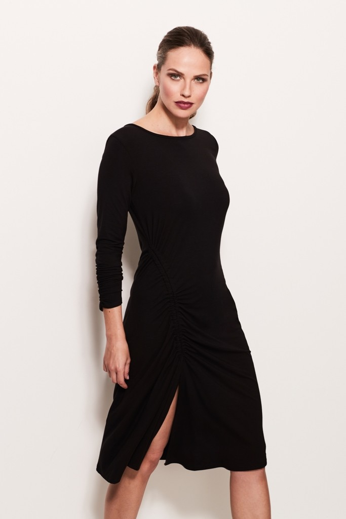 Sosandar Black Ruched Detail Jersey Tunic Dress