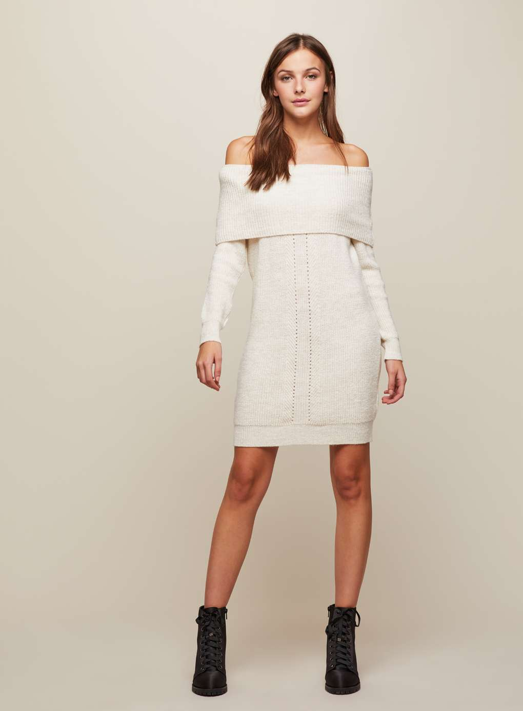 Miss Selfridge Cream Bardot Knitted Dress