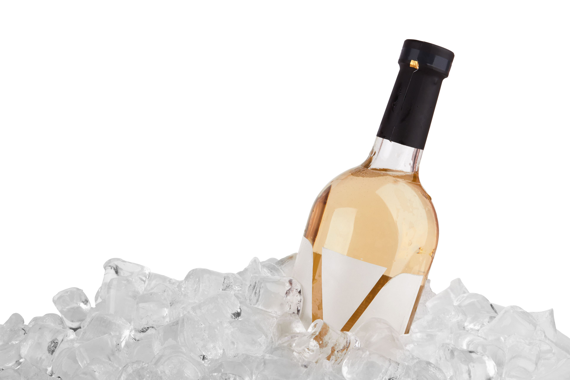Bottle of white wine in ice
