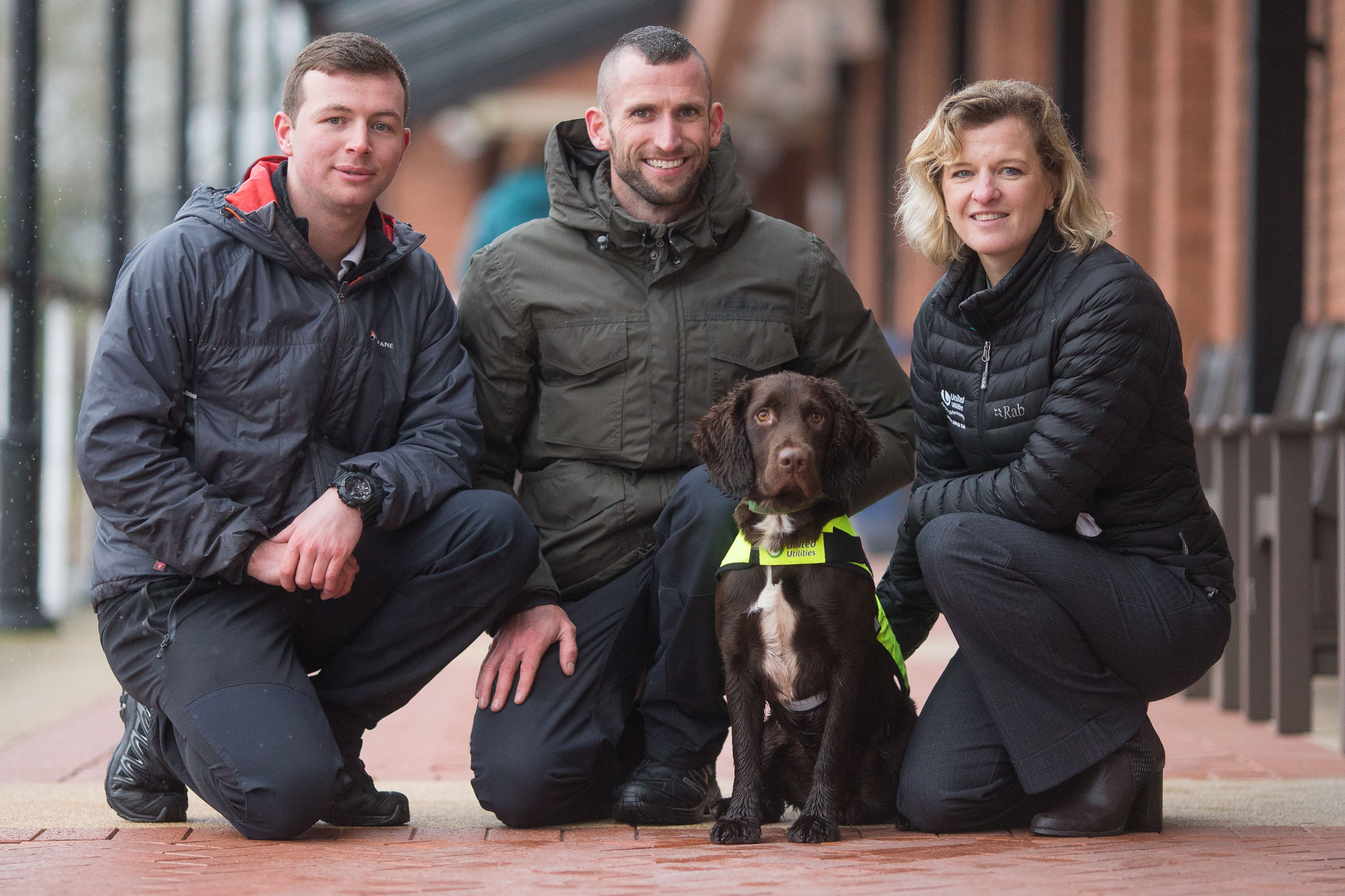 Snipe the dog, with, from left, Luke Jones, Ross Stephenson and Hannah Wardle (Aaron Chown/PA)