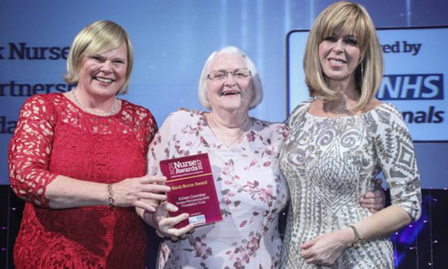 Aileen Coomber is presented with her award by Kate Garraway and Karen Barraclough from NHS Professionals (Collect/PA Real Life)