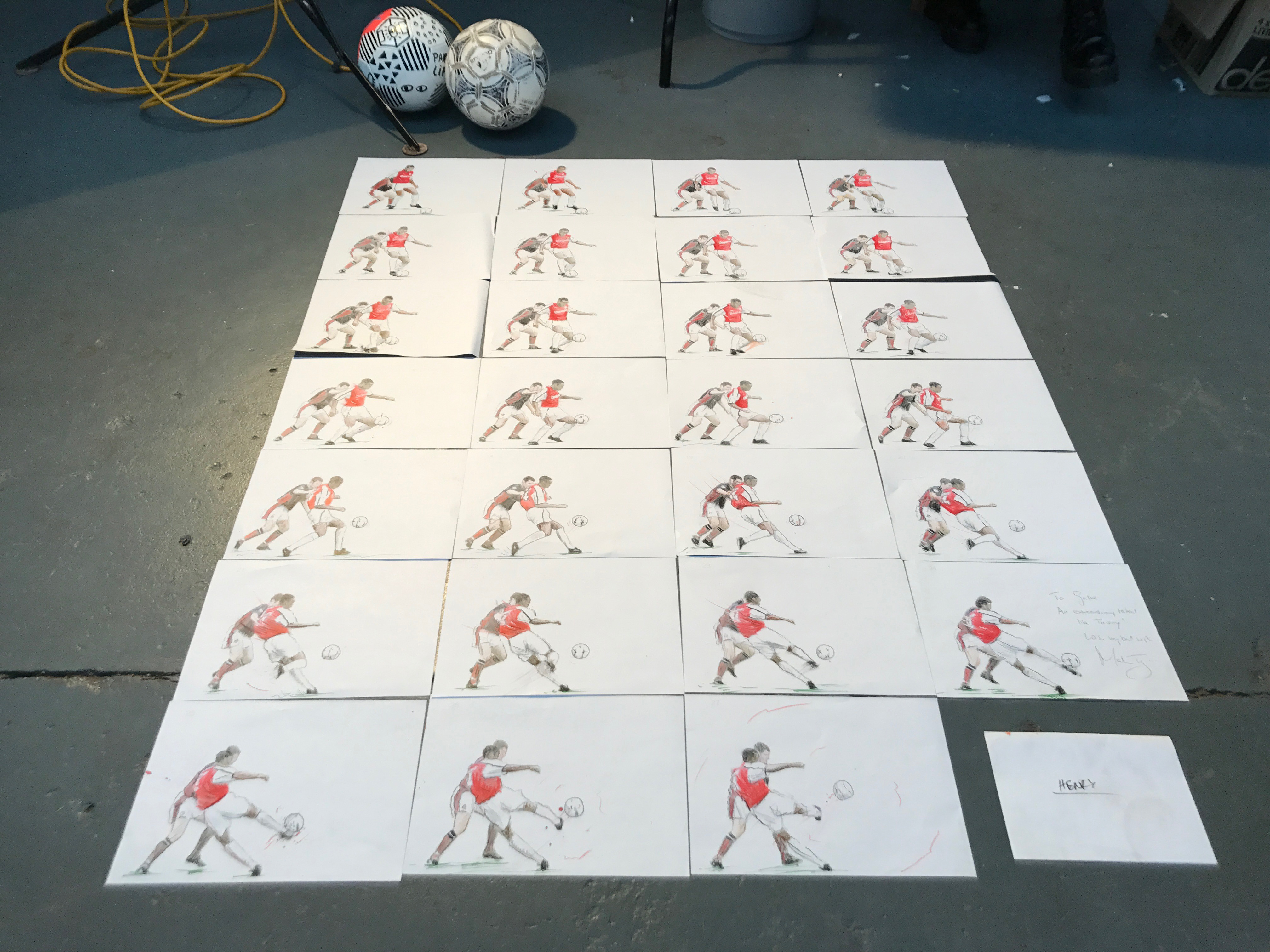 Multiple images showing Thierry Henry's famous volley against Manchester United
