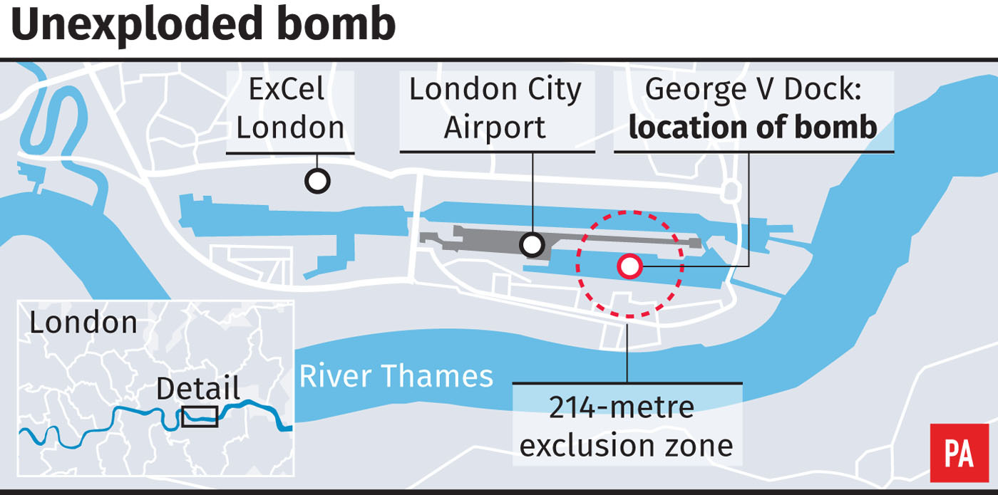 Locates unexploded Second World War bomb in George V Dock close to London City Airport