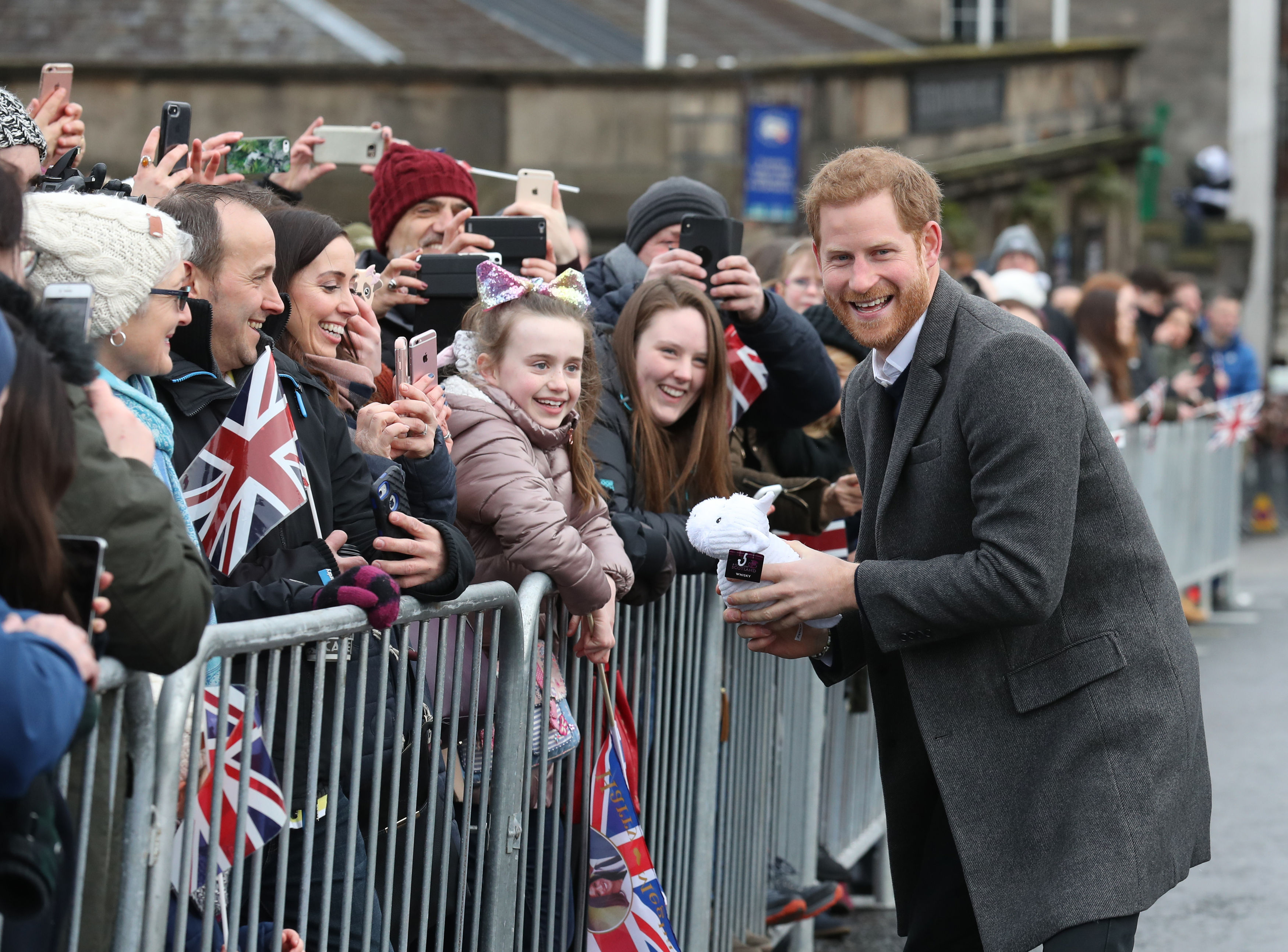 Prince Harry during a walkabout on the esplanade at Edinburgh Castle (Andrew Milligan/PA)