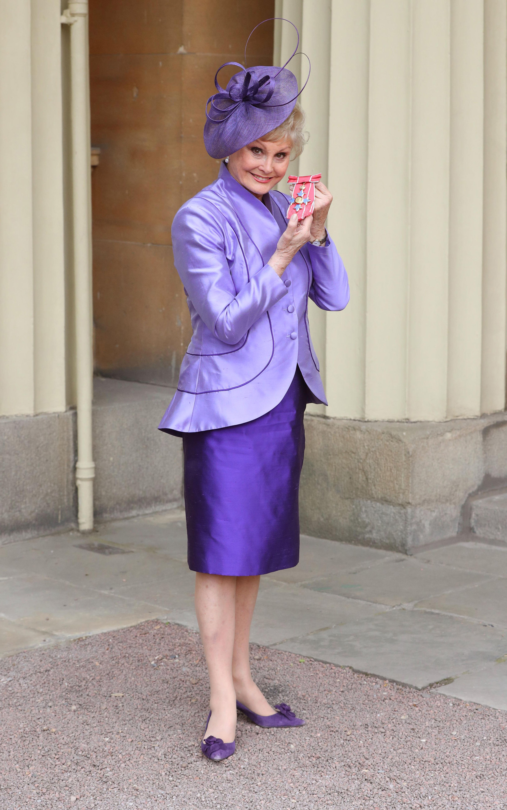 Angela Rippon after she was awarded a CBE by the Duke of Cambridge for her services to dementia, during an Investiture ceremony at Buckingham Palace, London. Her mother was diagnosed with dementia in 2004 and died in 2009 and she is an ambassador for the Alzheimer's Society. (Jonathan Brady/PA)