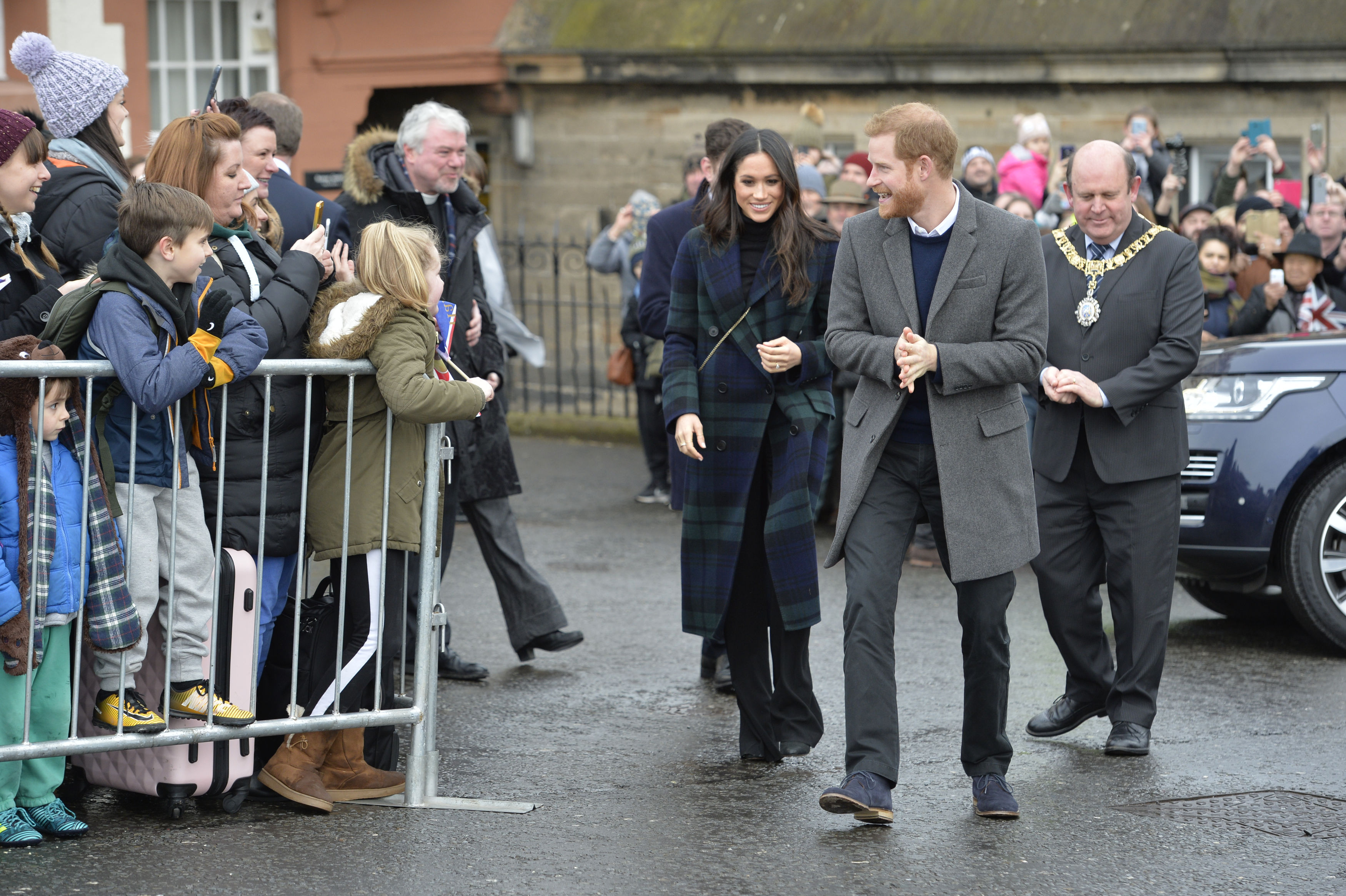 Prince Harry and Meghan Markle arriving at Edinburgh Castle (John Linton/PA)