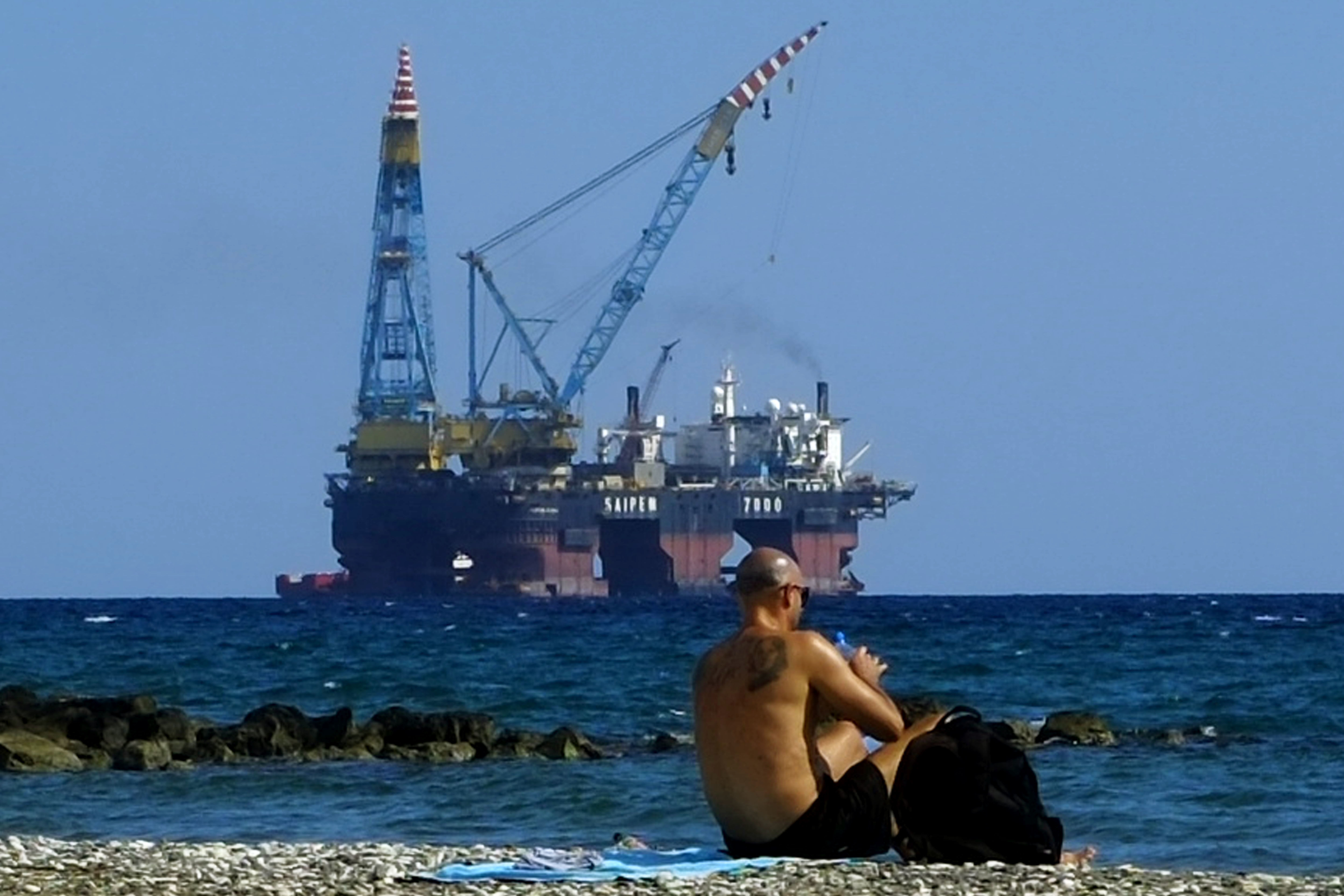 A drilling platform outside Larnaca port in Cyprus (AP Photo/Petros Karadjias, File)