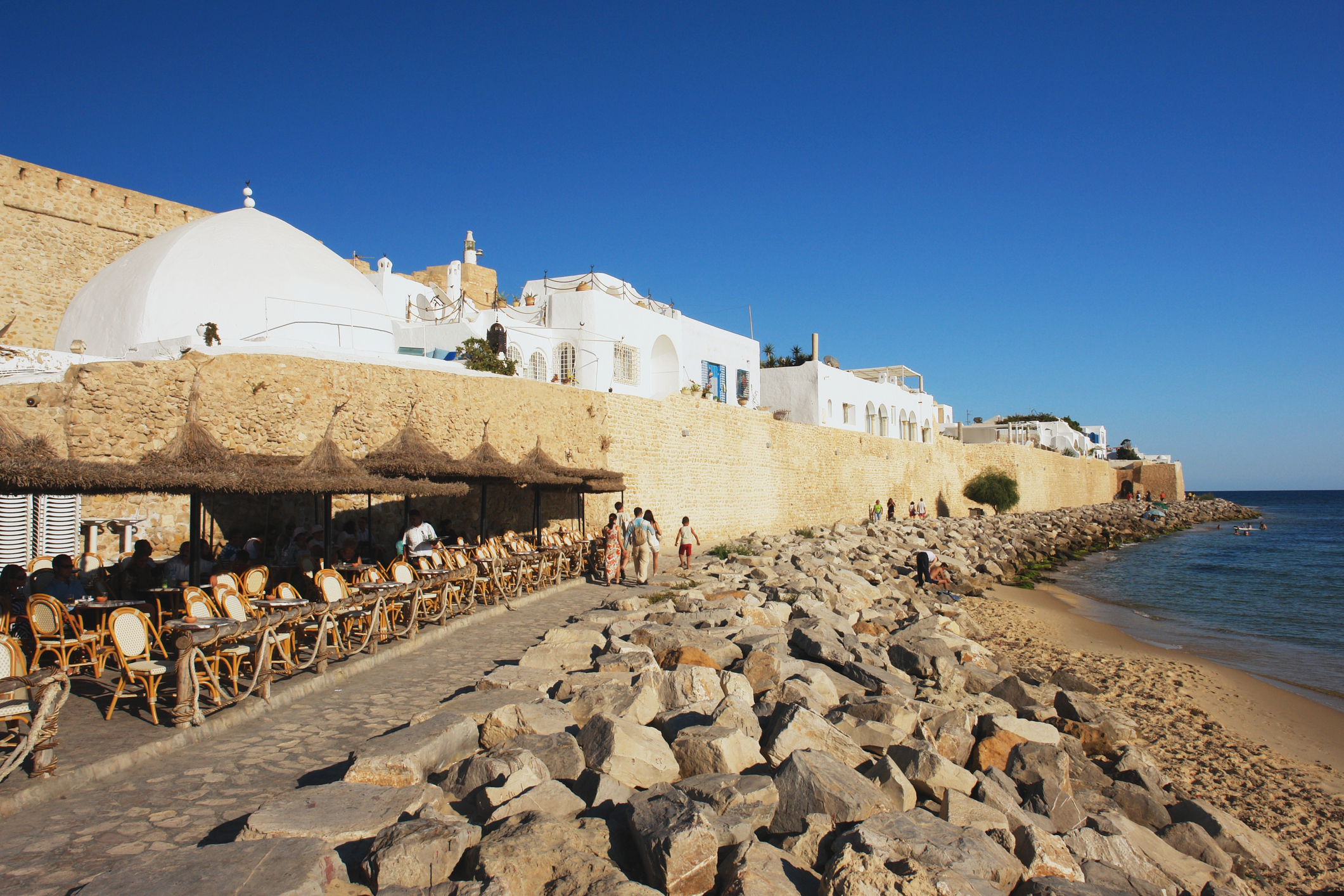 View of the medina from coast, Hammamet