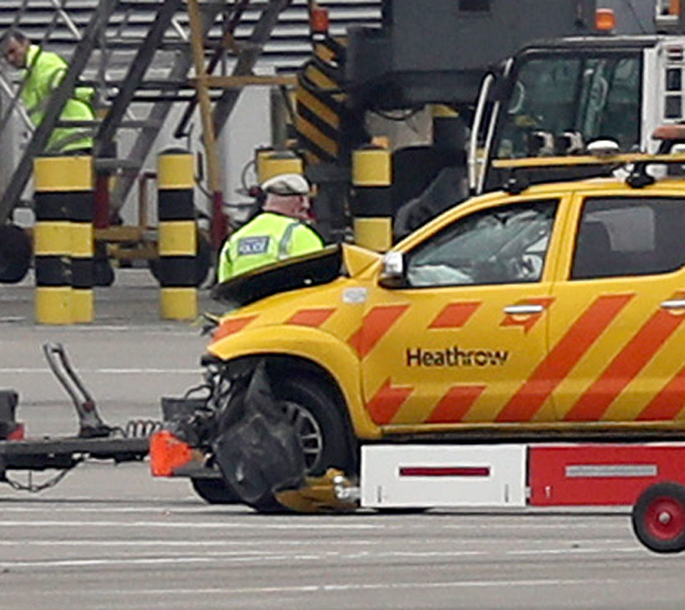 One of the vehicles involved in the crash at Heathrow Airport