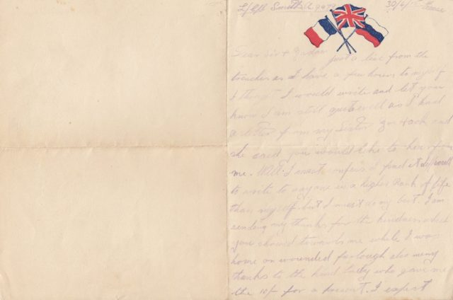 Letter written by Pte Alfred Smith from the trenches (Henry Aldridge and Son/PA)