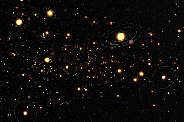 Artist's cartoon view gives an impression of how common planets are around the stars in the Milky Way