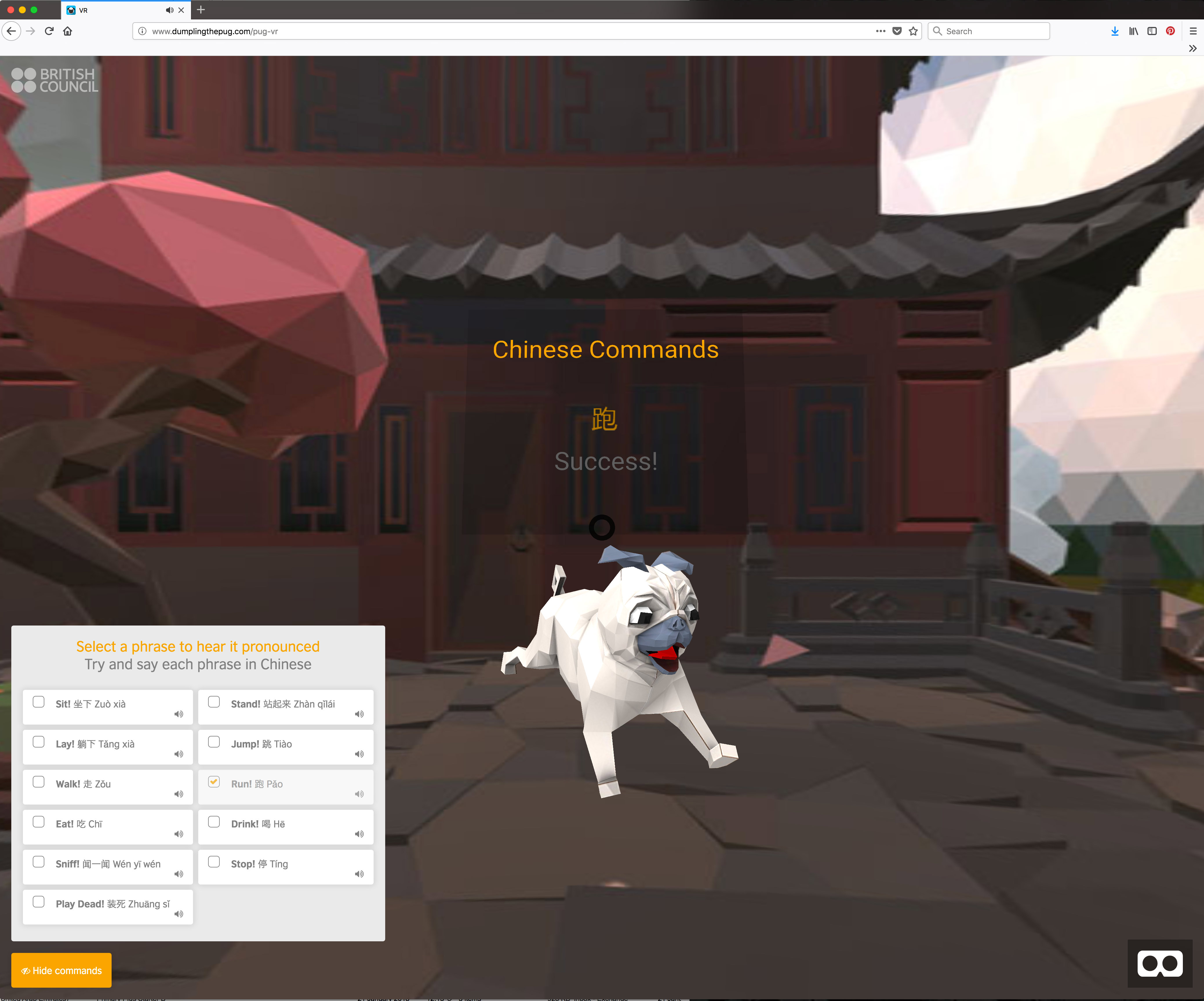 A new virtual dog has been created to help children learn Mandarin (British Council/Thoughtful /PA)