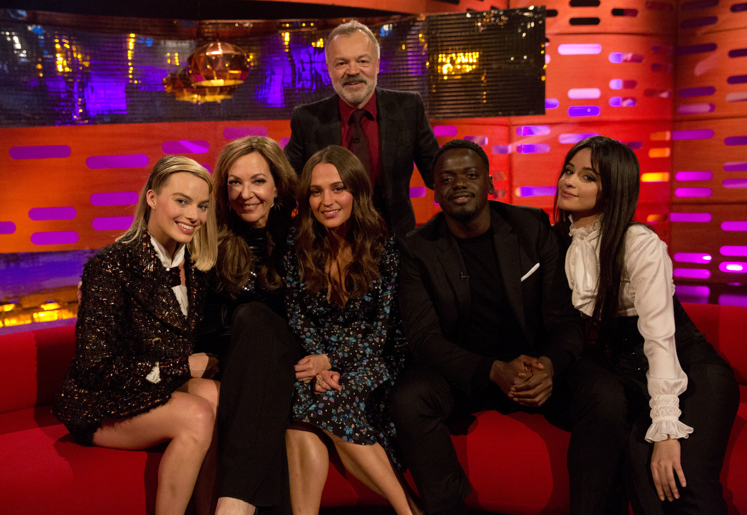 Host Graham Norton (back) with (left to right) Margot Robbie, Allison Janney, Alicia Vikander, Daniel Kaluuya and Camila Cabello (Isabel Infantes/PA)