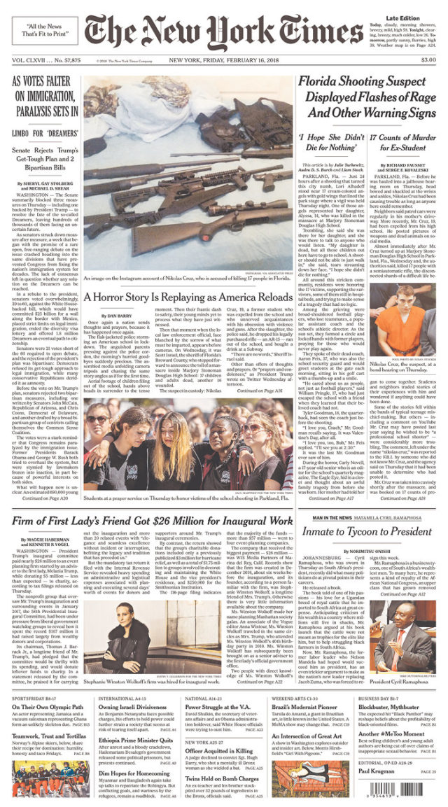 Front Pagenew York Times Design Of: What The US Papers Are Saying About The Most Recent Mass