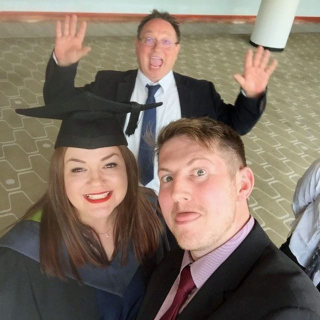 Andy Ducrow and Laura Nice, and her dad, on her graduation (Collect/PA Real Life)