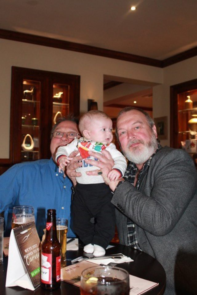 The grandads with Chase. Left to right: Gary Nice and Dave Duckrow (Collect/PA Real Life)