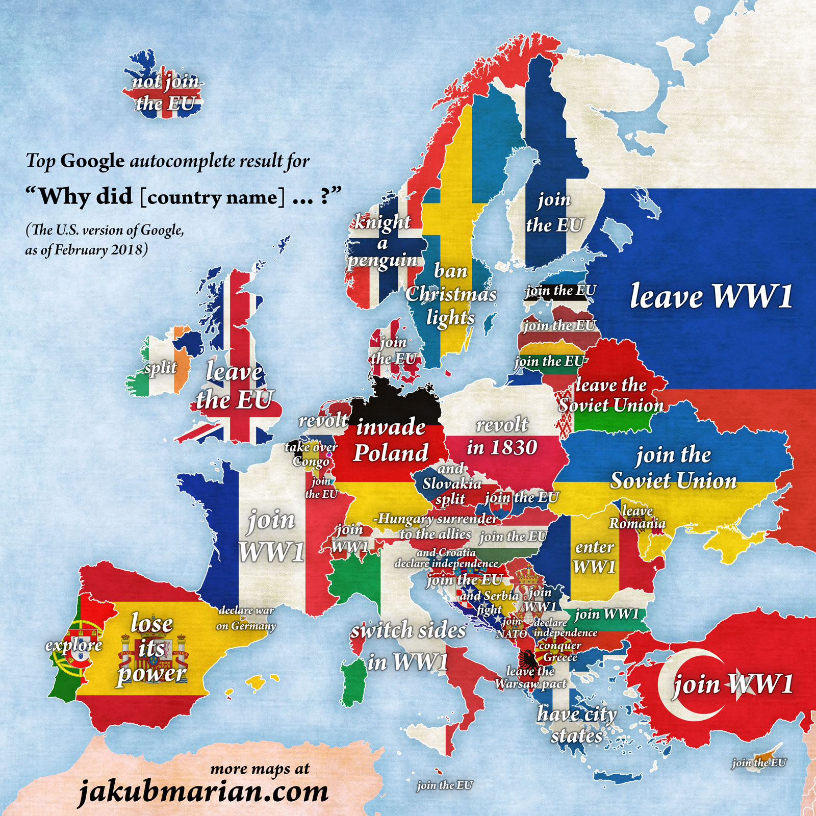 Warsaw Europe Map.Google Autocomplete Map Of Europe Reveals Most Searched For