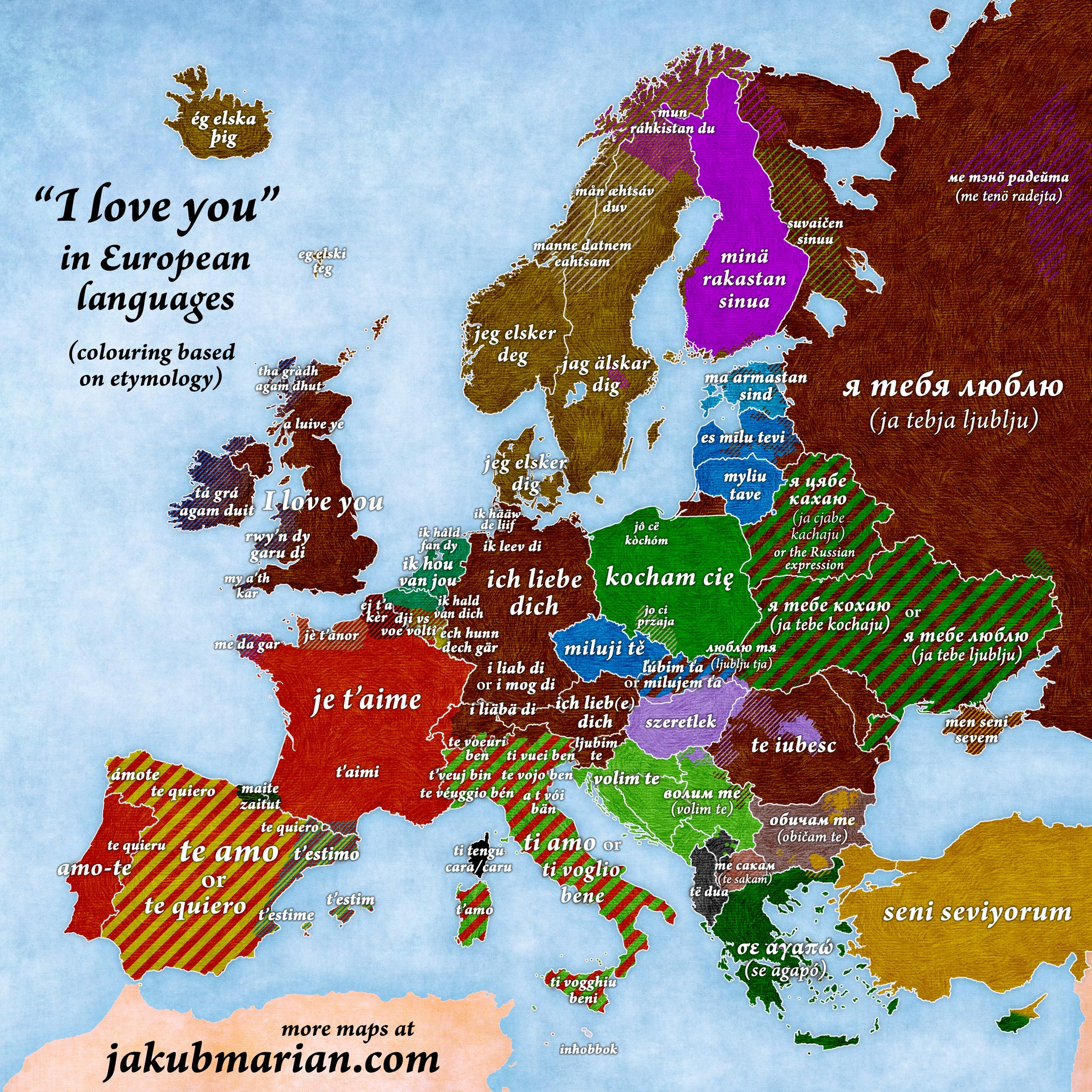 The map showing how to say I love you