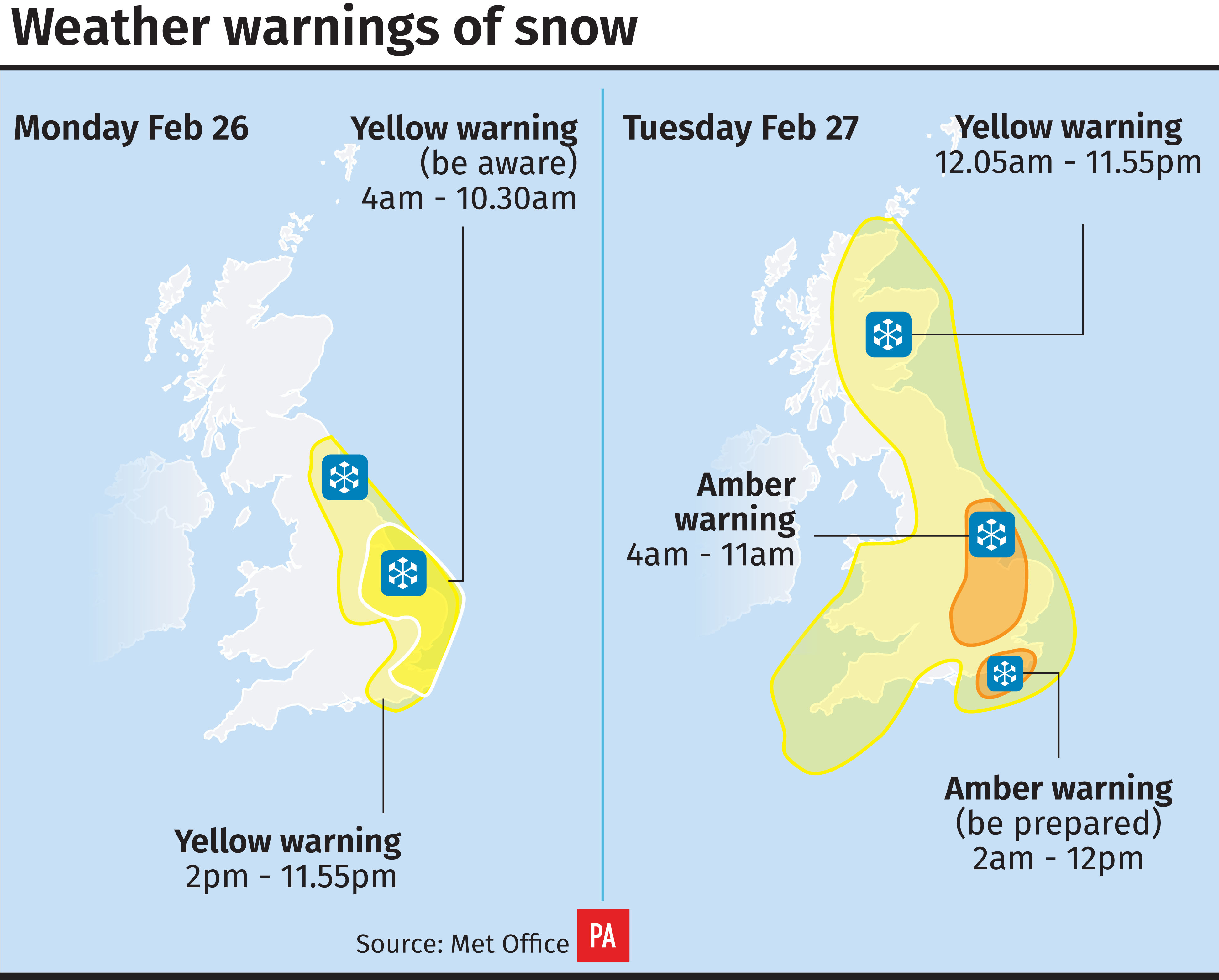 Weather warnings for snow (PA Graphics)