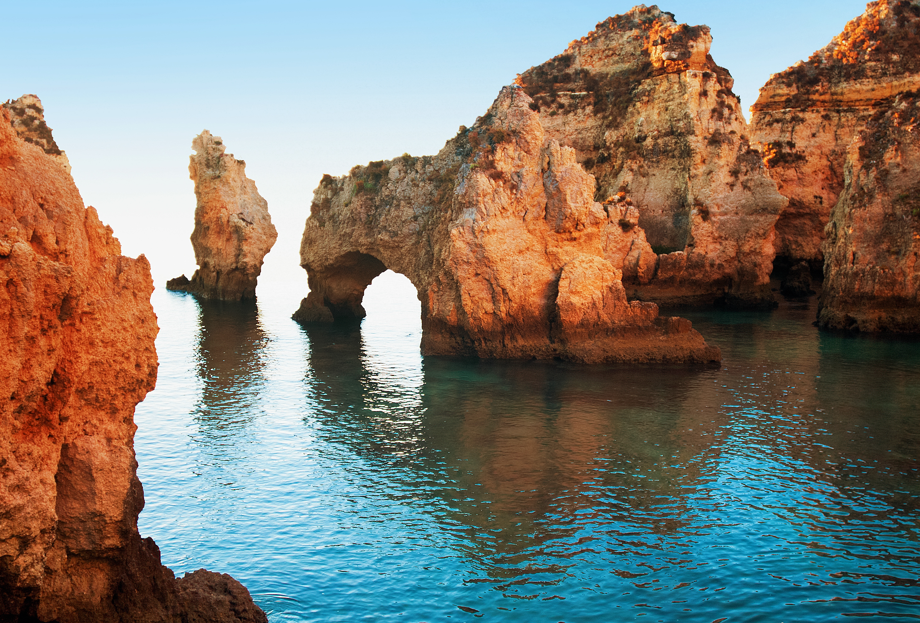 Dramatic coastal cliffs at Ponta da Piedade, Lagos, Portugal (mmeee/Thinkstock/PA)