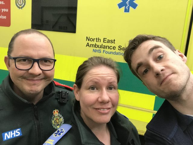 North East Ambulance Service staff Dave Reynolds, Claire Roberts and Iain Stewart were at the scene (North East Amulance Service/PA)