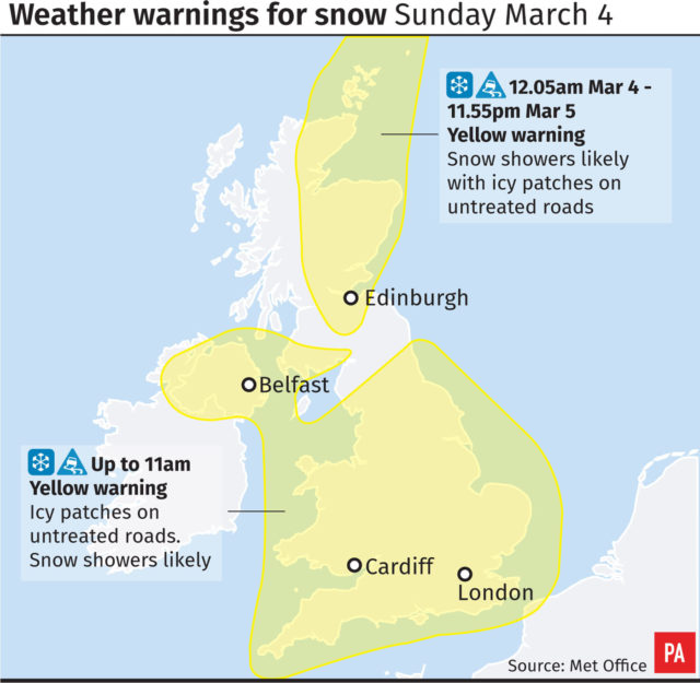 Weather warnings for snow and ice remain in place