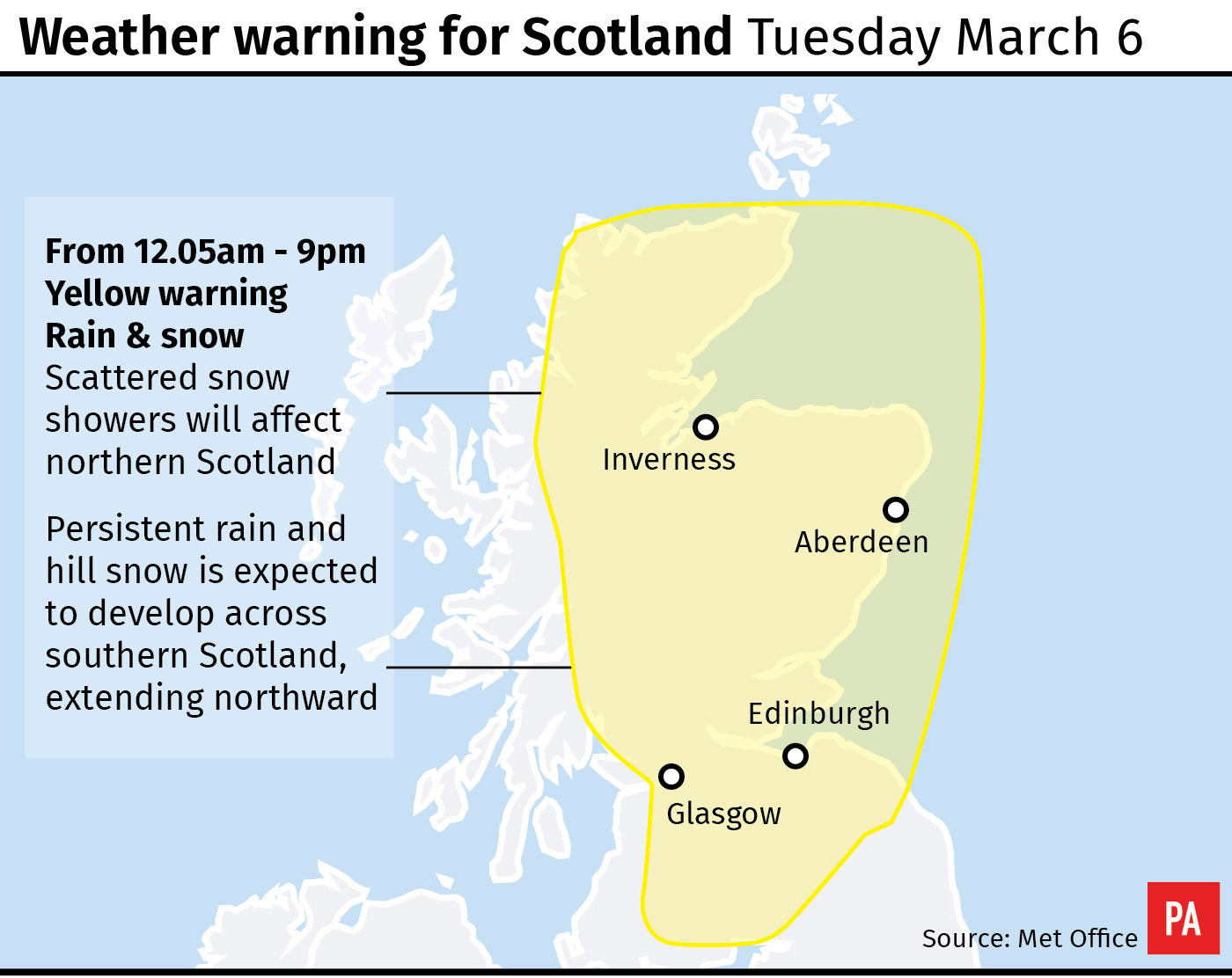 Weather warning for Scotland Tuesday March 6. (PA Graphics)