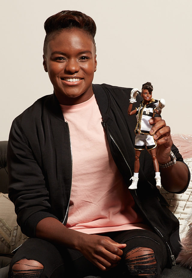 Two-time Olympic gold medallist boxing champion Nicola Adams with a one-of-a-kind 'Shero' Barbie doll in her likeness for International Women's Day.