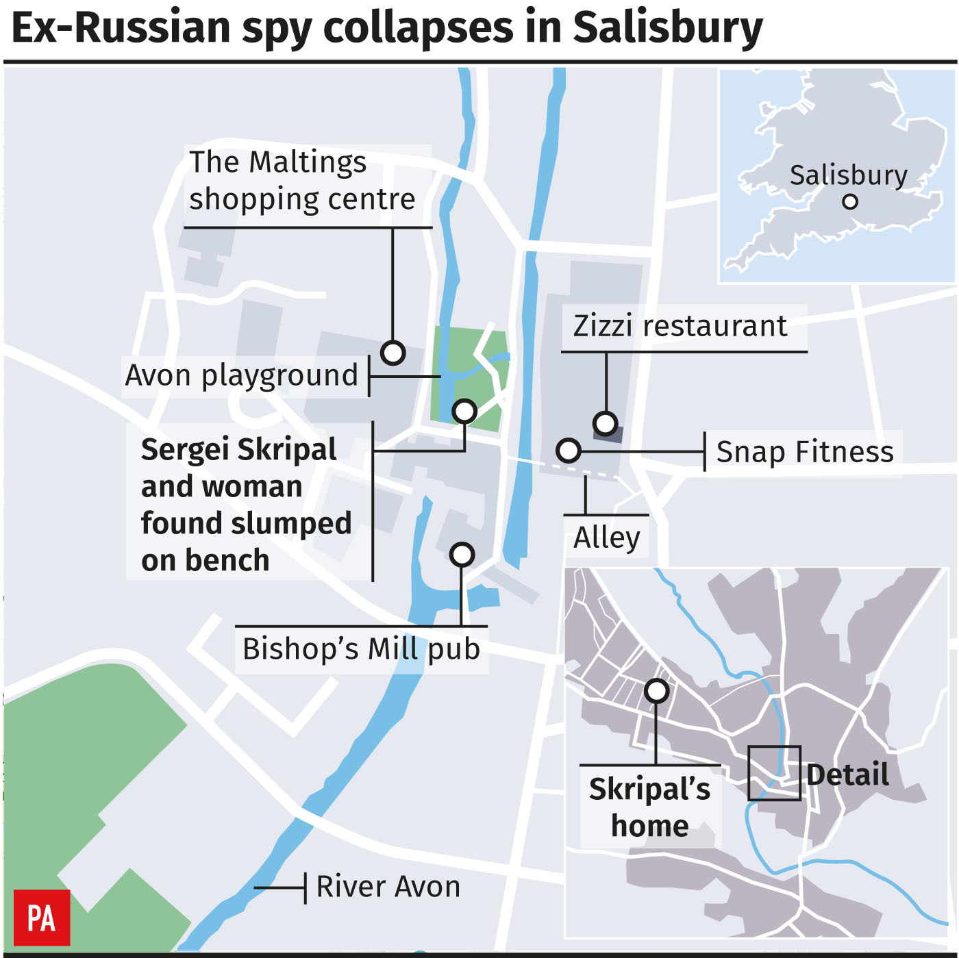 Ex-Russian spy collapses in Salisbury, graphic shows key locations