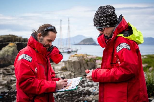 Greenpeace scientists survey plastic at the Shiant Islands (Will Rose/Greenpeace/PA)