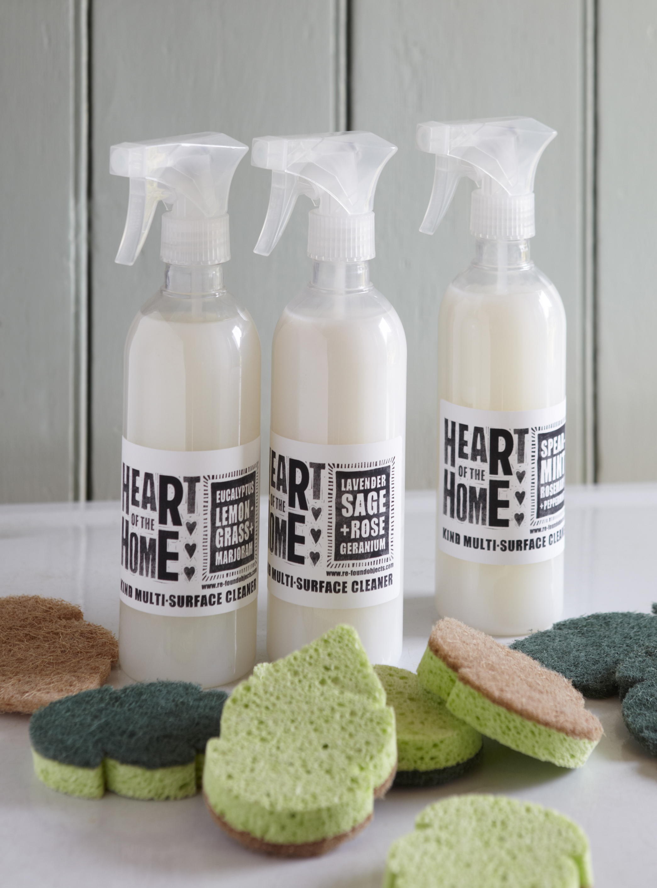 Heart Of The Home Eco Cleaner, 100% natural, vegan, biodegradable and hypo-allergenic. Available in three essential oil fragances: Spearmint Rosemary and Peppermint Lavender, Sage and Rose Geranium Eucalyptus, Lemongrass and Marjoram, from £8.50, Re For The Home (RE For The Home/PA)