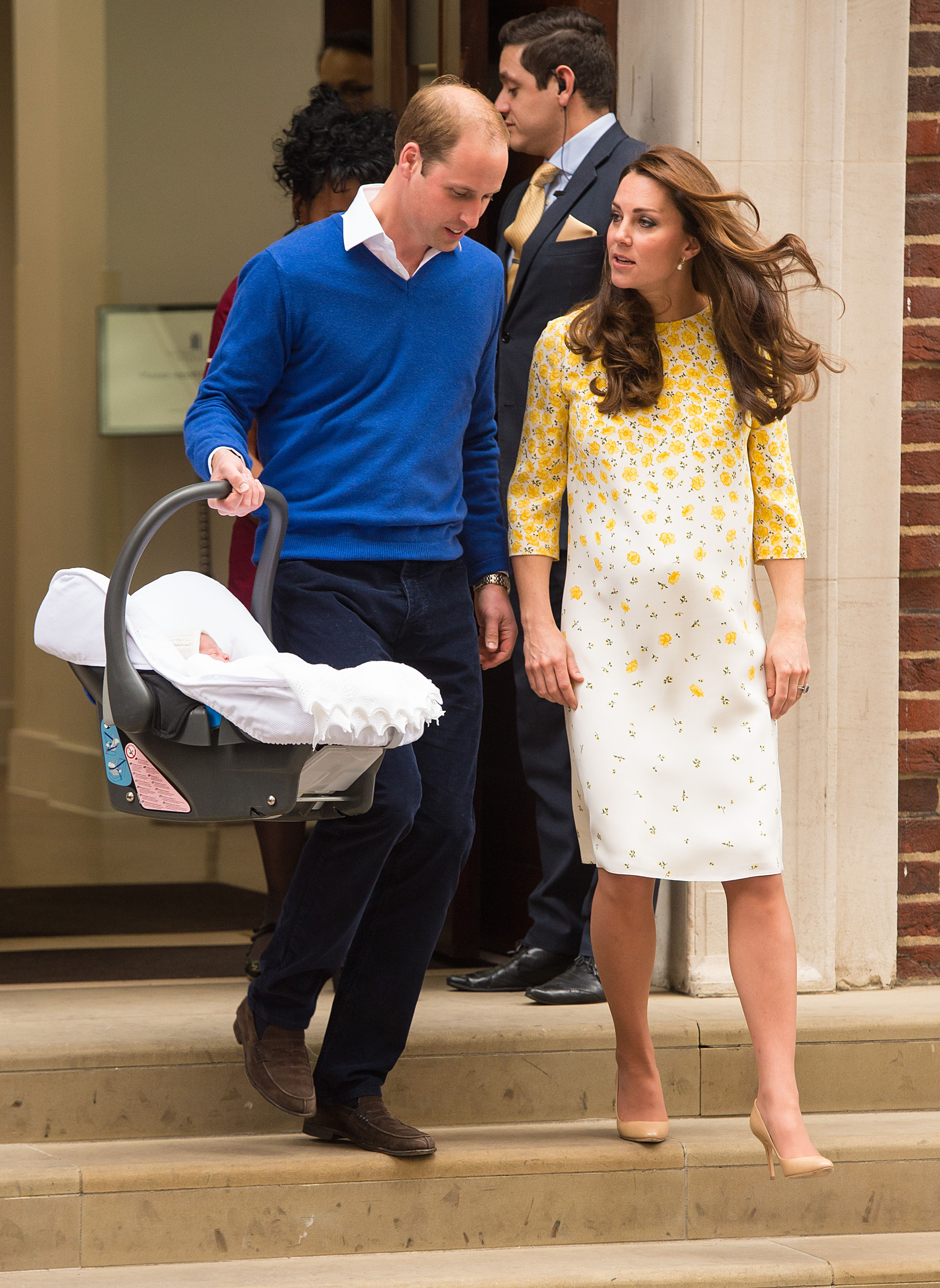 The Duke and Duchess of Cambridge and the newborn Princess of Cambridge as they leave the Lindo Wing of St Mary's Hospital in London