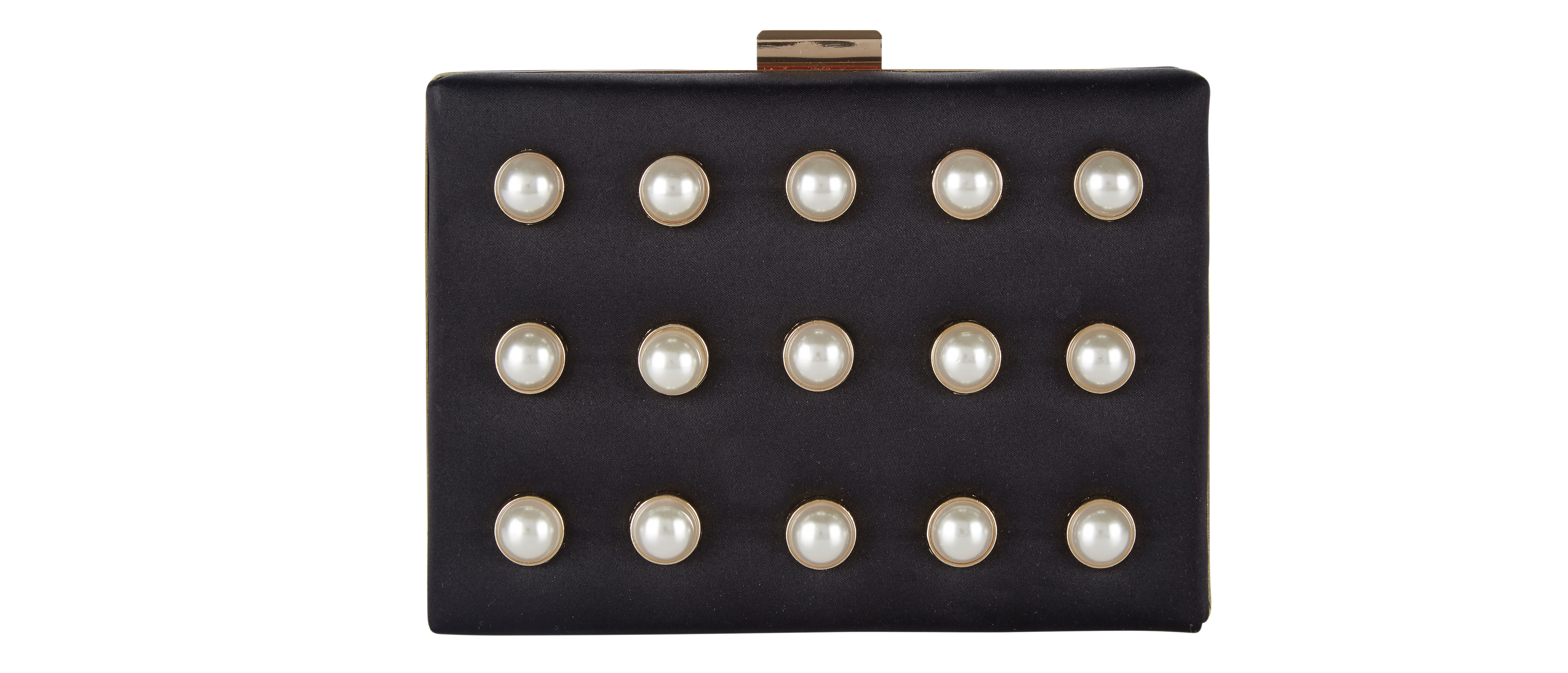 JD Williams Pearl Detail Box Clutch Bag