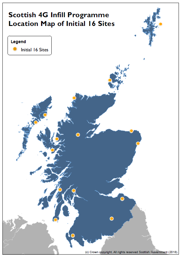 Map of initial 4G Infill sites (Scottish Government/PA)