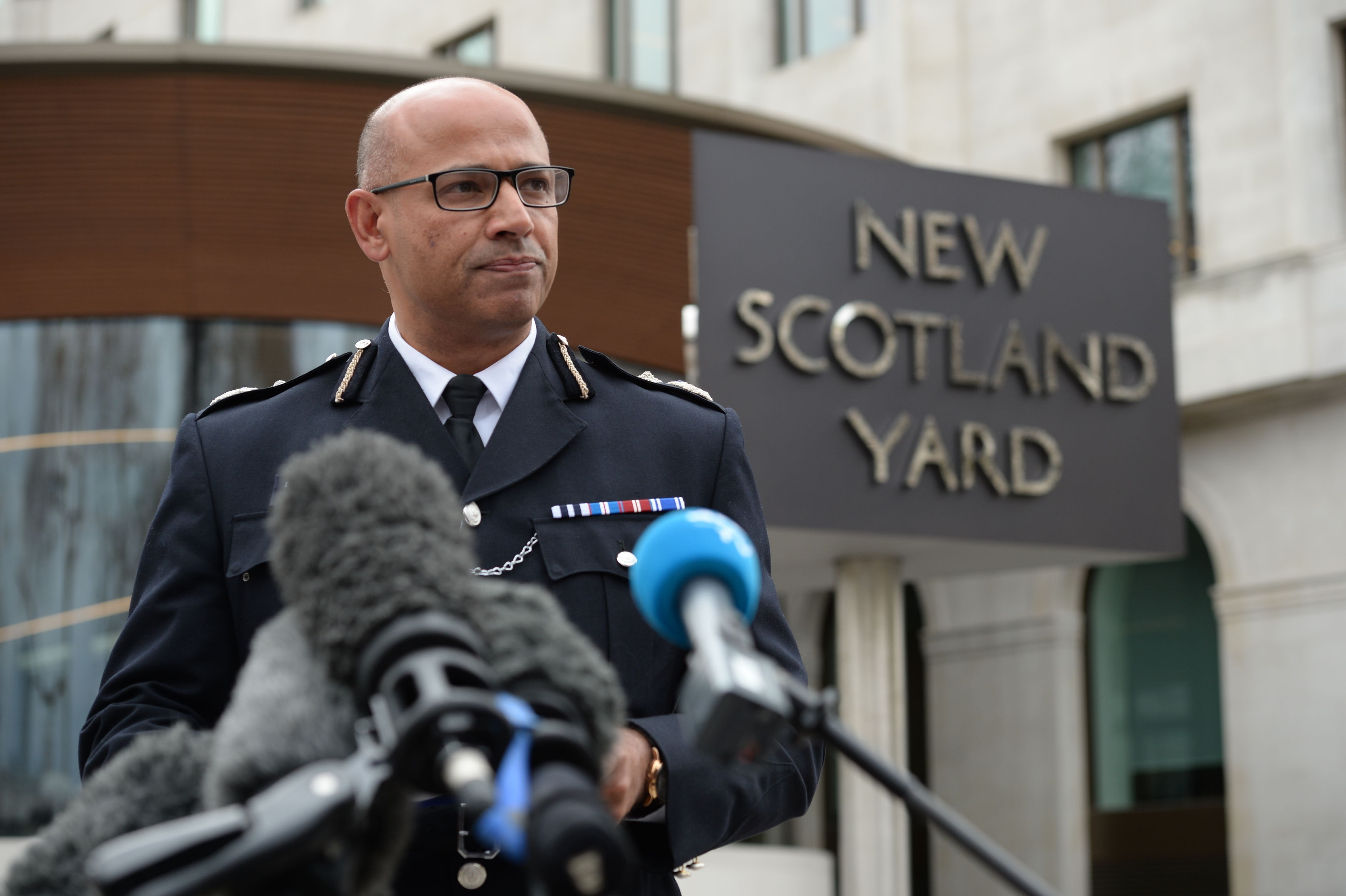 Head of counter-terrorism policing Neil Basu gives an update at Scotland Yard (Kirsty O'Connor/PA)
