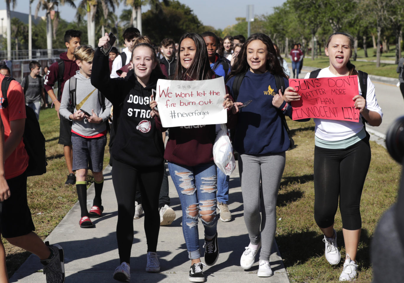 Students from Westglades Middle School (Lynne Sladky/AP)