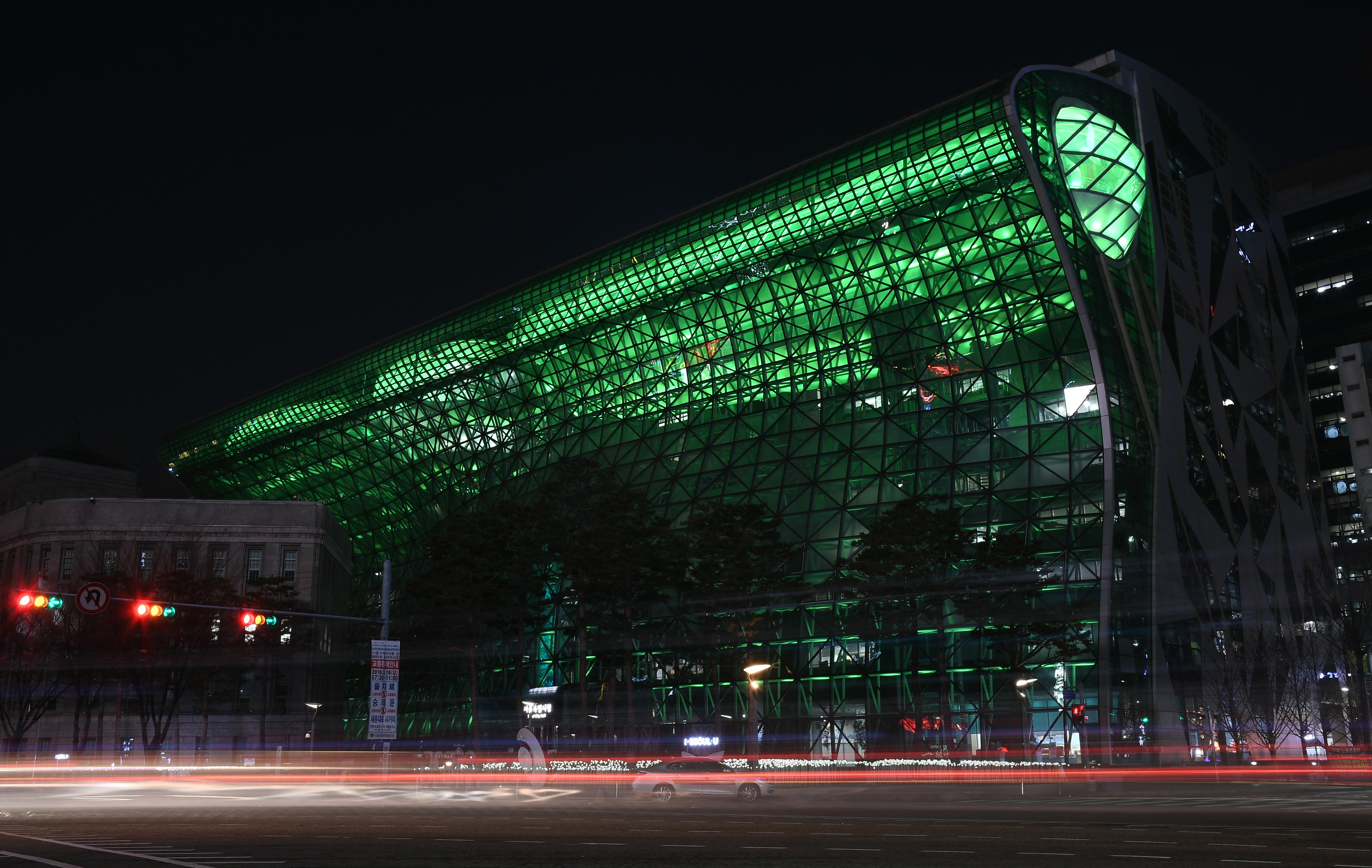Not to be outdone, City Hall in Seoul, South Korea, also went green